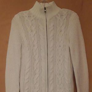 Ralph Lauren White zipper Sweater Cableknit M